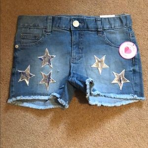 NWT JUSTICE Sequined Jean Shorts, sz 12